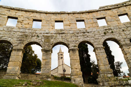 roman amphitheater: Architecture details of the Roman amphitheater in Pula, Croatia, an arena similar to Colosseum of Rome Stock Photo