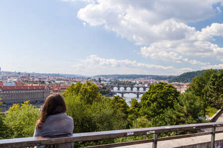 vltava: Scenic view of the Vltava river and of the historical center of Prague