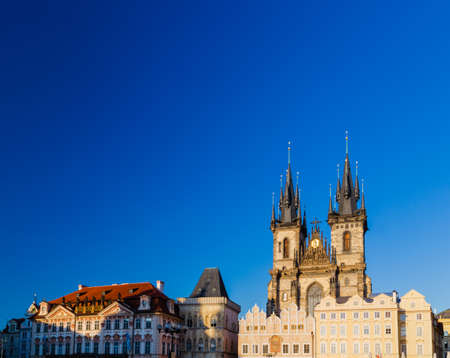 czech women: The gothic  Church of Mother of God in front of Tyn in Old Town Square in Prague Stock Photo