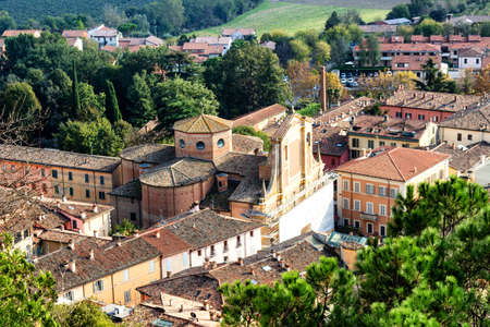 emilia romagna: A foggy view over the medieval country village of Brisighella in Emilia Romagna, Italy, from the medieval Fortress of Venetians Editorial