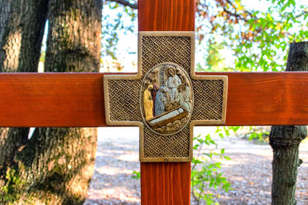 apparition: Wooden Cross on Mount Podbrdo, the  Apparition hill overlooking the village of Medjugorje in Bosnia ed Erzegovina