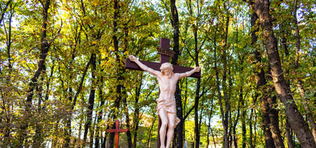 apparition: Wooden Crucifixion Cross on Mount Podbrdo, the  Apparition hill overlooking the village of Medjugorje in Bosnia ed Erzegovina