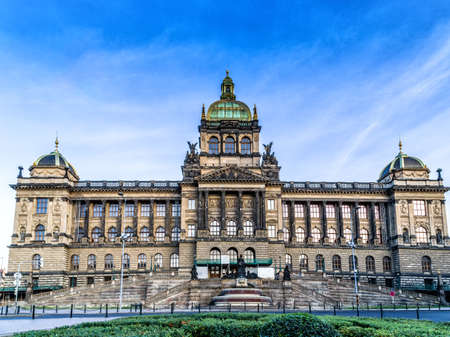 Buildings  and houses in the historical center of Prague. Wenceslas square in Prague in Central Europe: the equestrian statue of Saint Wenceslas and the Neorenaissance National Museum Stockfoto