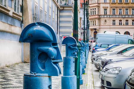 bollards: The light blue metal Cubist Bollards in Malostranske namesti (Little Quarter Square) in Prague