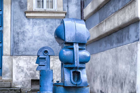 bollards: The light blue metal Cubist Bollards in Malostranske namesti (Little Quarter Square) in Prague