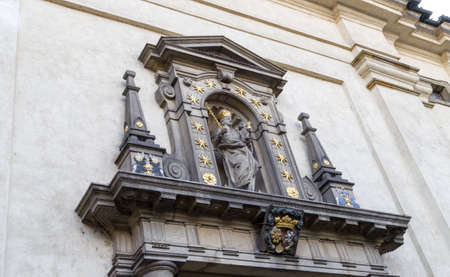 the victorious: The facade of the Church of Our Lady Victorious (Kostel Panny Marie Vitezne) in Mala Strana