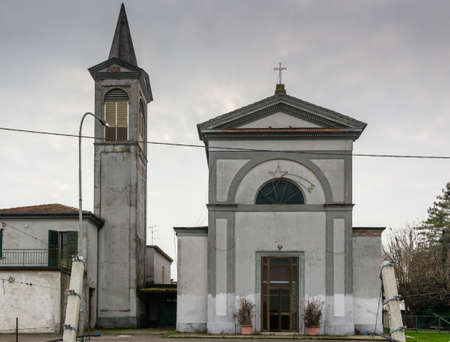 xv century: Facade of the XV century neoclassical  church dedicated to Nativity of Virgin Mary in the village of  Budrio near Ravenna in the countryside of Emilia Romagna in Italy: rebuilt in 1400 on the ruins of a 1100 one. Editorial
