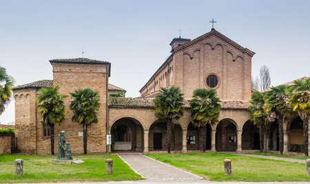 xv century: Brickwall facade of the XV century gothic roman church dedicated to Saint Francis in Cotignola near Ravenna in the countryside of Emilia Romagna in Italy.