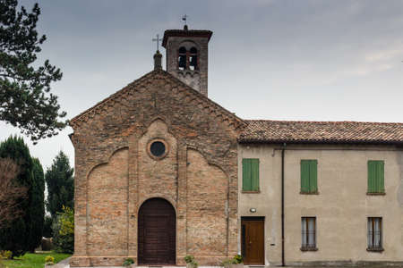 xvi: Brickwall facade of the XVI century church dedicated to The Ascension of Jesus Christ in the village of  Ascensione near Ravenna in the countryside of Emilia Romagna in Italy: it dates back to 1534