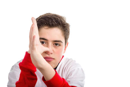 banter: Caucasian smooth-skinned boy wearing red long sleeved shirt thumbs his nose with both hands Stock Photo