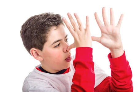 derision: Caucasian smooth-skinned boy wearing red long sleeved shirt thumbs his nose from left to right with both hands showing profile