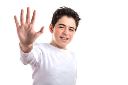long sleeve: Smooth-skinned Hispanic teen in a white long sleeve t-shirt smiles making high five gesture with right hand