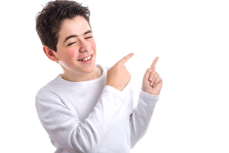white long sleeve: Caucasian young smooth-skinned boy in a white long sleeve t-shirt double pointing up to his left side with both forefingers