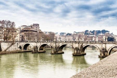 tiber: Bridge over the Tiber river in the center of Rome.