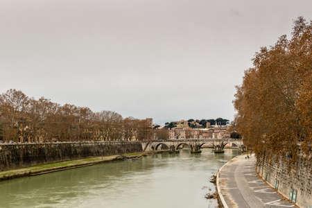 tevere: Bridge over the Tiber river in the center of Rome Stock Photo