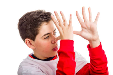 mockery: A Caucasian boy wearing red long sleeved shirt thumbs his nose from left to right with both hands showing profile