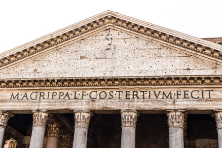 pediment: The facade of the Pantheon in Rome: columns and the pediment in a sunny winter day