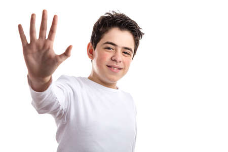 white long sleeve: Hispanic teen with acne skin in a white long sleeve t-shirt smiles making high five gesture with right hand