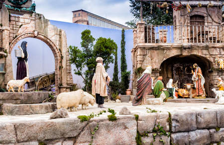 presepio: Nativity scene: a crib in Italy. Magi are bringings gift to Holy Family.
