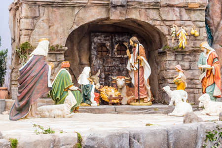 presepio: Nativity scene: a crib in Italy with Saint Joseph, The Blessed Virgin Mary and Infant Jesus, the Holy Family visited by sheperds and Magi Stock Photo