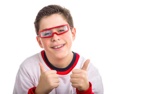 red skinned: A Soft skinned Caucasian boy wearing red goggles  smiles while making success sign with both hands