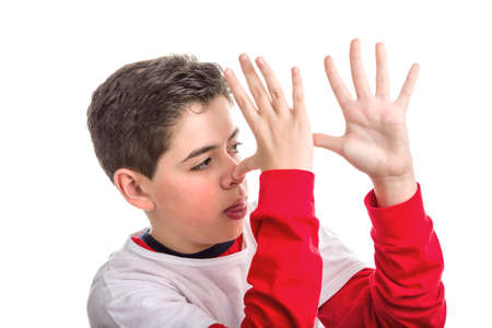 sleeved: A Soft skinned Latin child wearing red long sleeved shirt thumbs his nose from left to right with both hands showing profile and tongue