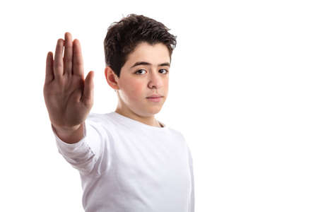 white long sleeve: Caucasian teen with acne skin in a white long sleeve t-shirt making Talk to the hand gesture with right hand