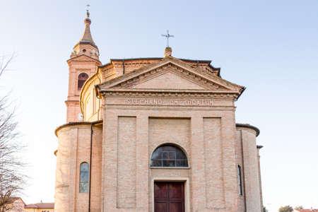 parish: Brick wall of facade of XVIII Century parish church of Saint Stephen Protomartyr in Barbiano, Italy