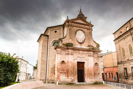 pius: Facade of XVIII Century church, the Church of Pius Suffrage in Cotignola, Italy Stock Photo