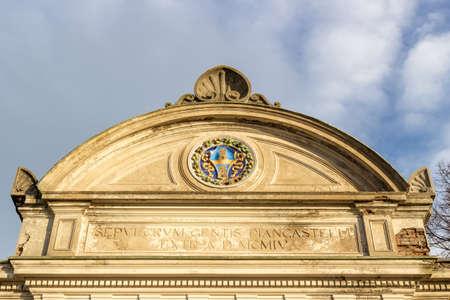 """oratorio: Facciata della chiesa del XVII secolo, l'Oratorio della """"Santissima Annunziata"""" (Sepulcrum Gentis Piancastelli) a Fusignano, Italia Archivio Fotografico"""