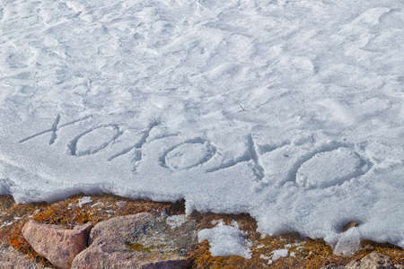 weed block: Xoxoxo meaning Hugs And Kisses, written in capital letters on frozen white snow while brown weeds and moss in the foreground Stock Photo