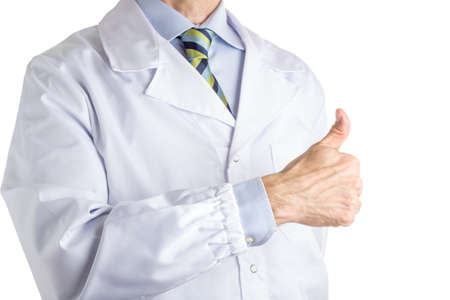 all right: Man dressed with medical white coat, light blue shirt and glossy regimental tie with dark blue, light blue and green stripes, is making  hitch-hiking gesture meaning success or everyting is all right. Gesture is approve or like or number one sign too