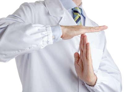 bata blanca: Hombre vestido con bata blanca m�dico, camisa azul claro y corbata regimiento brillante con el azul oscuro, rayas azules y verdes claros, hace tiempo fuera la muestra