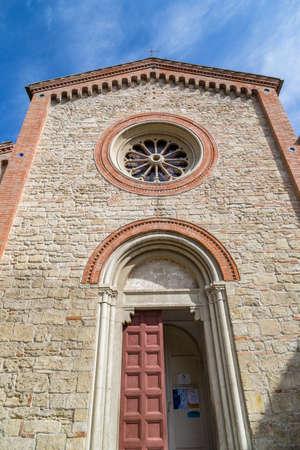 parish: Facade of XIV Catholics church of Saints Nicolò and Francesco in Italy Stock Photo