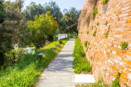 paved: paved path along the wall of a 14th century fortress