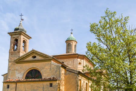 xvi: Historic feelings in the old architecture of the XVIII century Catholic church devoted to Saint James, private chapel of the Italian XVI century ruined palace, Palazzo San Giacomo in Russi, village near Ravenna in Northern Italy: