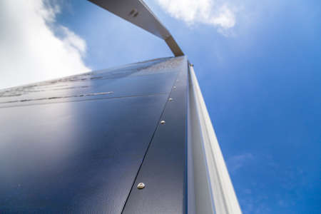 vanishing point: A long steel and iron tip going to vanishing point at the horizon on a sky background Stock Photo