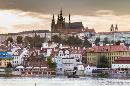 vltava: View of Praga Castle, Saint Vitus Cathedral on Vltava river Editorial