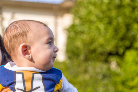 embraced: Side view of cute 6 months old baby with Light brown hair in white, blue and brownish long-sleeved shirt is embraced and held by his mother Stock Photo