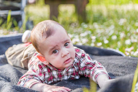 light hair: Funny face of cute 6 months old baby with Light brown hair in red checkered shirt and beige pants: hes biting his lips and puffing cheeks