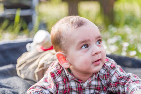 light brown hair: The innocent happiness of a cute 6 months old baby with Light brown hair in red checkered shirt and beige pants smiling in a city park