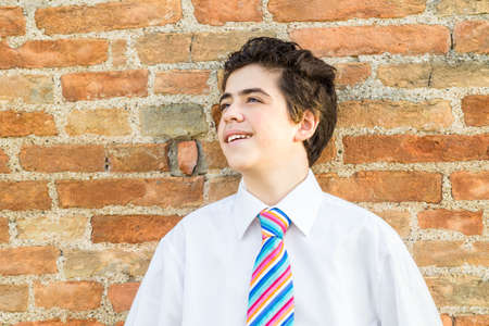 ancient brick wall: Handsome Caucasian boy leaning against an ancient brick wall while he is wearing a white shirt and a regimental tie with red, fuchsia, orange, blue, indigo, blue and white stripes