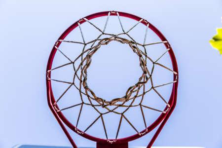 seen: basketball basket with grunge white net seen from below