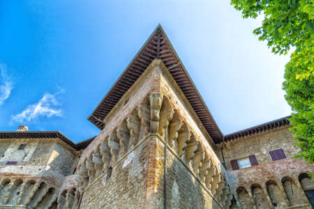 stronghold: the sharp edges of the walls of the brick walls of The Castle of the Captain of Artillery, a 16th century stronghold in Terra del Sole, a small village in Emilia Romagna in Italy