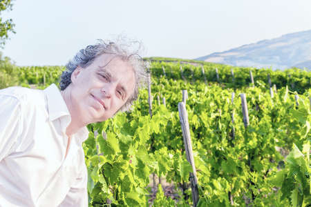 fascinating: Caucasian fascinating wealthy gentleman of forty wearing white shirt in front of a green vineyard in Italian countryside