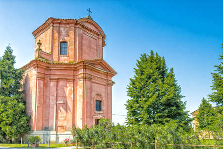 rigid: The rigid and severe architecture of the Shrine of Our Lady of Health of Solarolo in Italy, church from the 18th century devoted to the Blessed Virgin Mary