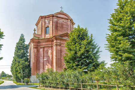 church of our lady: The rigid and severe architecture of the Shrine of Our Lady of Health of Solarolo in Italy, church from the 18th century devoted to the Blessed Virgin Mary
