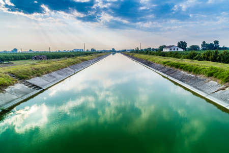 romagna: the largest channel of Emilia Romagna for irrigation of cultivated fields