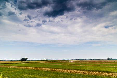 agricultura: la agricultura en Emilia Romagna en Italia, campos y maquinaria agrícola