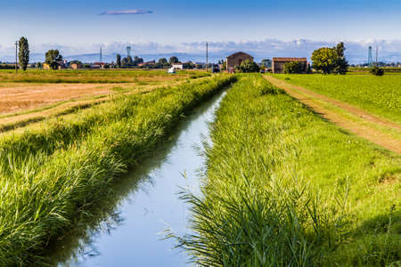 waters: waters of irrigation canal in Italian countryside Stock Photo
